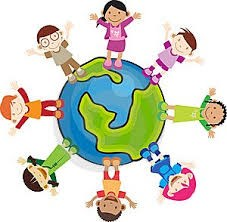 World globe with multicultural children holding hands
