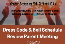 Dress code bell schedule meeting info
